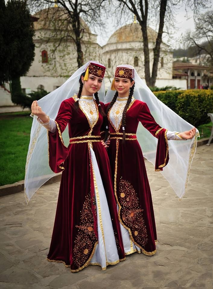 Traditional costumes of the 'Kırım Tatarları' (Tatars from Crimea). Style: early 20th century. These are recent workshop-made copies, as worn by folk dance groups. Large groups of Tatar fled Crimea during the 19th century and settled in Turkey (e.g. in the province of Eskişehir, where they hold large and much attended Tatar gatherings/festivals each year).