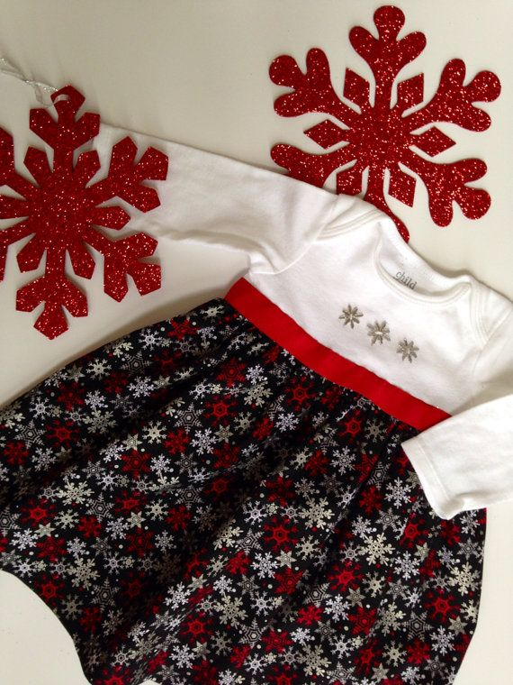 Christmas Dress, Christmas Outfit for Girls, Winter Onesie Dress, Christmas Dress for baby on Etsy, $35.00
