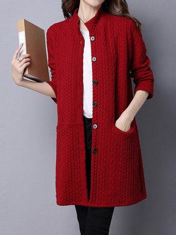 Women Ethnic Long Sleeve Single Breasted Cotton Coat