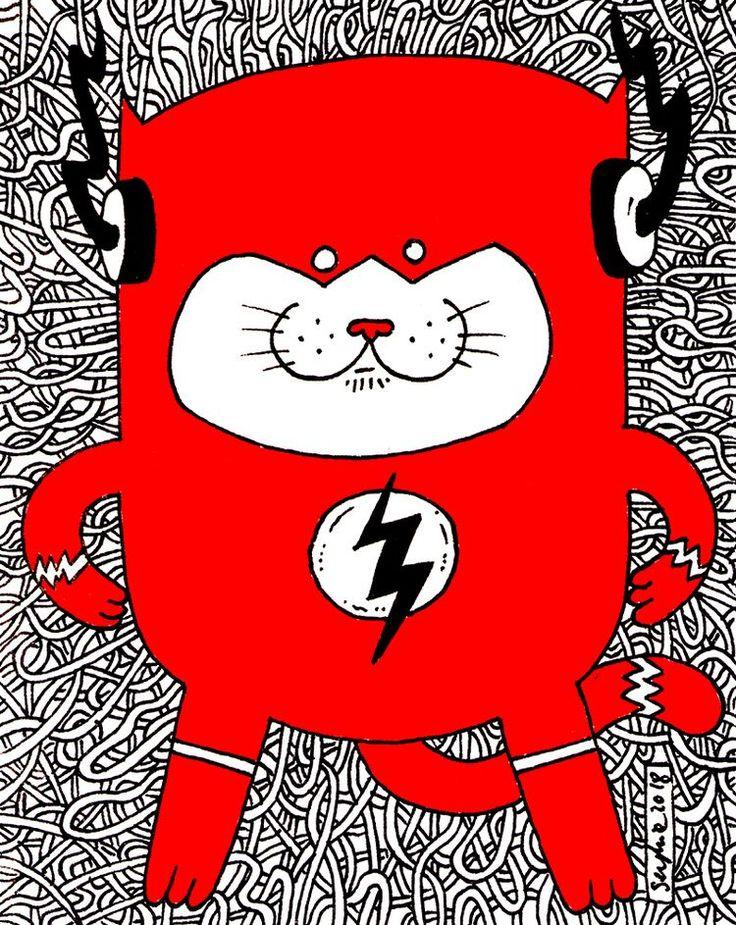 flash, cat, fanart - adrianserghie   ello