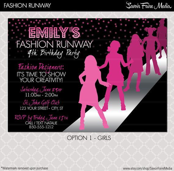 Fashion Show Invitation Project Runway inspired by sfmprintables