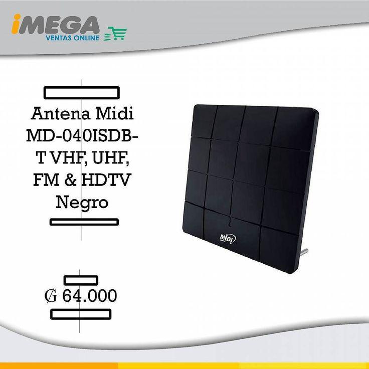 Antena Midi MD-040ISDB-T VHF UHF FM & HDTV -Negro Sintoniza tus canales favoritos y no pierdas resolución al ver tus programas. La antena de TV de Midi viene con ganancia única para una excelente calidad de imagen y Sonido. Para recepción de TV digital canales de UHF. Puede ser instalado en residencias establecimientos comerciales colectivos redes condominios y remolques. 64.000 #Antena #Midi #Cable #TVSatelital #TVDelFuturo #Programas #Series #Imagen #Sonido #AltaCalidad #Rendimiento…