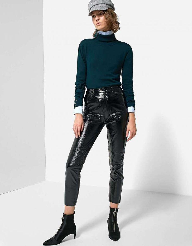 vinyl pants - Look con pantaloni in vernice Stradivarius
