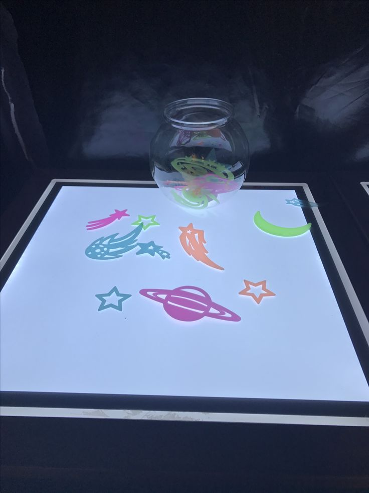 Stars and planet shapes for recreating stories and small world on the light and dark tables  Preschool