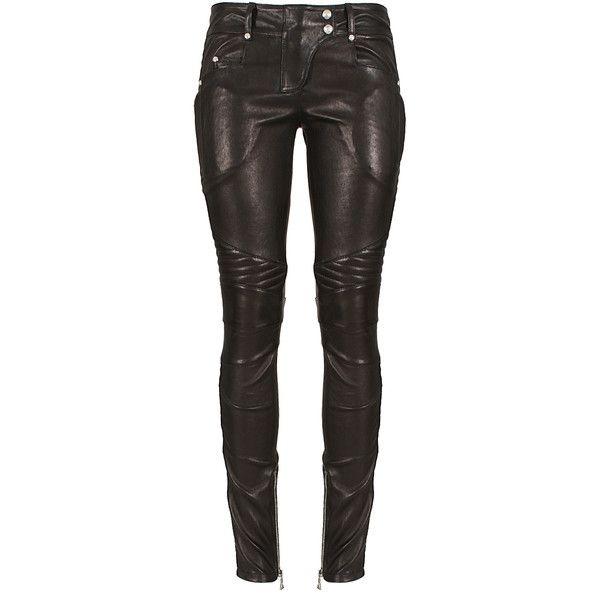 Balmain black leather biker pants ($1,775) ❤ liked on Polyvore featuring pants, jeans, balmain, leather, balmain pants, zip pants, snap pants and leather zipper pants