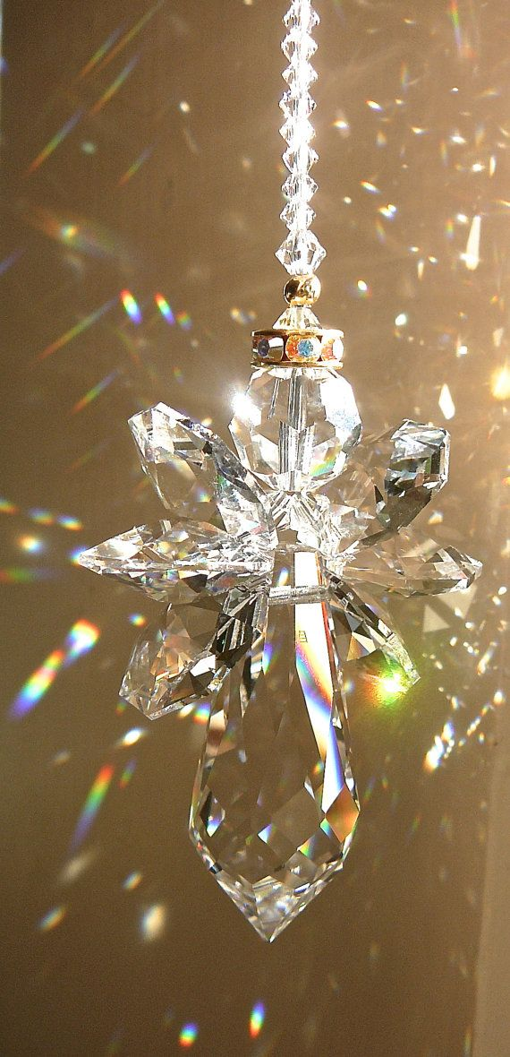 Gold Trimmed ANGELINA CLEAR Swarovski Crystal