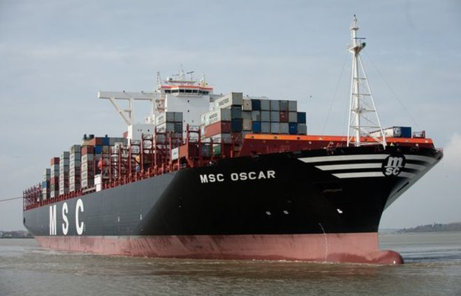 MSC Oscar world's biggest container ship, March 2015.