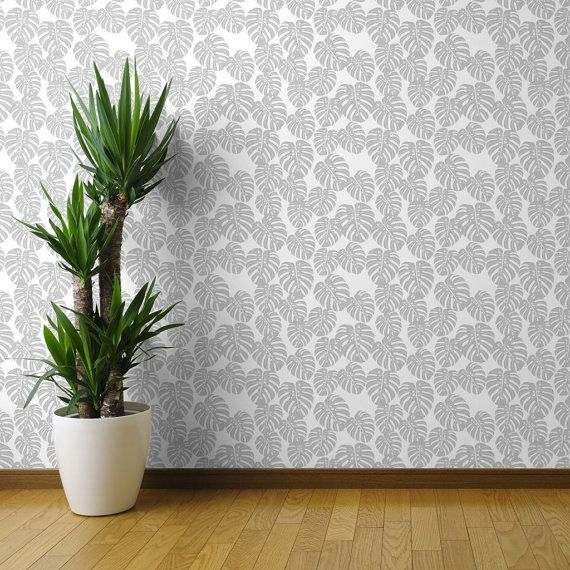 banana leaf wallpaper monstera grey