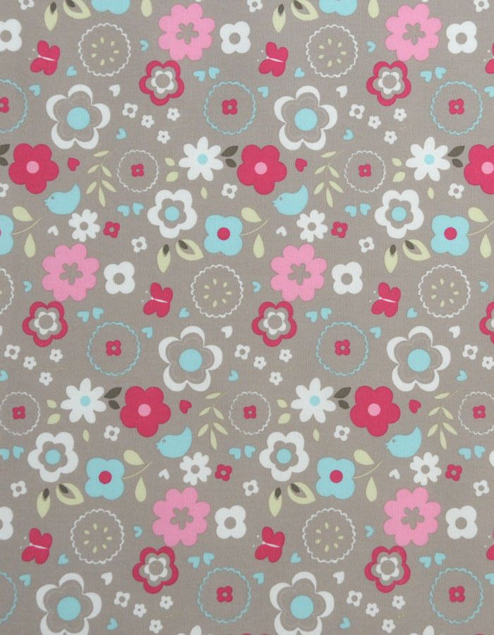 z. SAMPLE Cotton Fabric Retro Floral Taupe