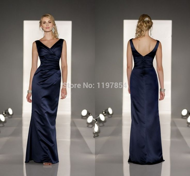 Find More Evening Dresses Information about Elegant Navy Blue Long Bridesmaid Dress Tank V Neck Backless Satin Bridesmaid Gown Straight Floor Length Formal Dress,High Quality dress pakistan,China dress liners Suppliers, Cheap dress high school musical from Amanda's Dress House on Aliexpress.com