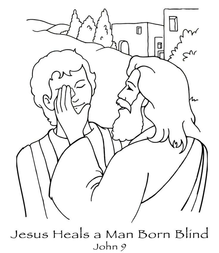 free coloring pages printable Jesus heals the blind man