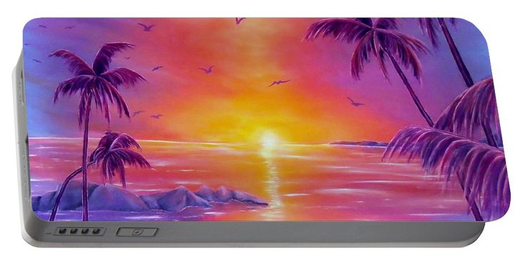 Portable Battery Charger,  purple,violet,colorful,cool,beautiful,fancy,unique,trendy,artistic,awesome,fahionable,unusual,accessories,for,sale,design,items,products,gifts,presents,ideas,tropical,palmtrees,sunset