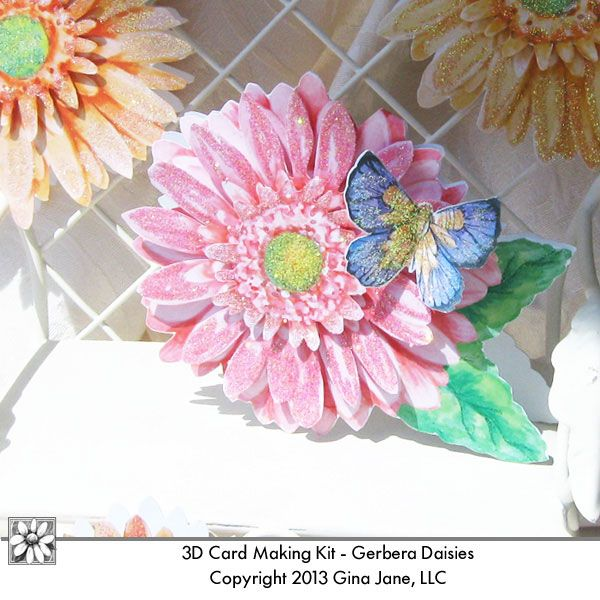 Gerbera Daisy Cards you print at home and make handmade, home made cards for gifts, Mother's Day, Birthday, Thank You Notes, Bridal Showers, and Thinking of You.  Prinables - Card Kits, digital cards downloads,  Free Printables, Free Graphics, Free Kits, Free Digital Clip Art, Graphics and Backgrounds for Scrapbooking, Gina Jane Designs - DAISIE Company