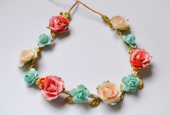 Peach Mint Coral Cream Ivory Floral Crown  Floral Halo Floral