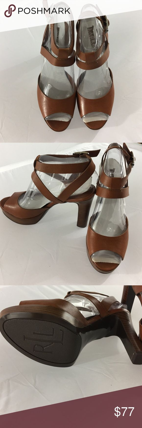"NEW LAUREN Ralph Lauren Brown Strappy High Heels Brand NEW LAUREN Ralph Lauren Brown Strappy High Heel Sandals with Silver Buckles and 4"" Heel Size 7B Never Worn Purchased at Macy's for $169 Get them here for less than half price! Lauren Ralph Lauren Shoes Heels"