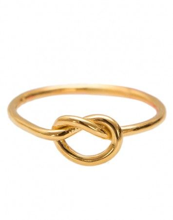 Pink Lou Lou Gold Love Knot Ring