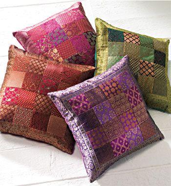 Patchwork sari brocade cushion cover 45 x 45cm