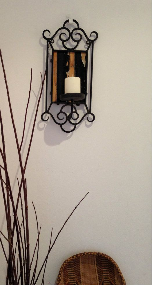 Iron Candle Holder with Beautiful wood
