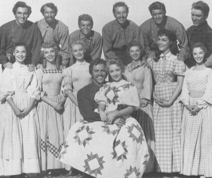 Jane Powell's dresses in the movie 7 Brides for 7 Brothers were made from old quilts - interesting to see the patterns,