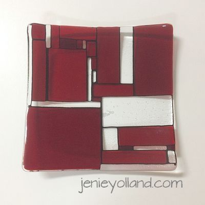 ruby red mondrian inspired art glass small bowl by Jenie Yolland - this is 30cms x30 cms.