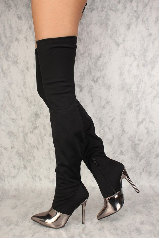 8b3578dba07 Sexy Black Mirror Pointy Toe Thigh High Heel Boots Lycra in 2019 ...