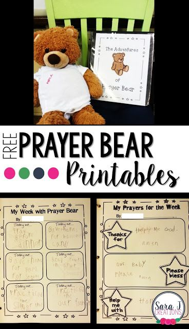 Prayer Bear   One of my favorite ways to motivate young children to pray is through the use of Prayer Bear a stuffed animal that travels from house to house and helps by listening to the children pray. This is perfect for a Sunday school class religious education class Catholic school or Christian school. It is a great home to school connection and a way to remind families to pray together. I've included all of the printables we use in the binder that gets sent home with prayer bear as…