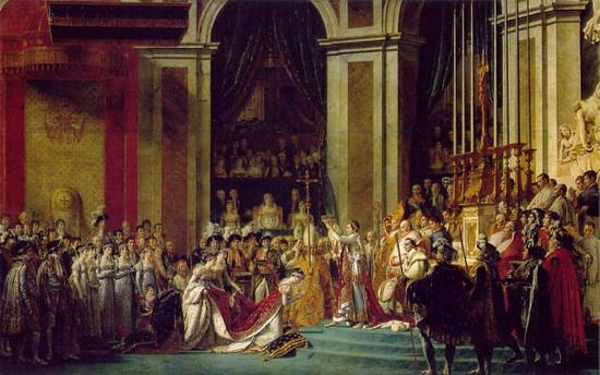 <나폴레옹 1세의 대관식, 다비드 > -2층 어딘가에서 대관식을 지켜보고 있는 화가자신
