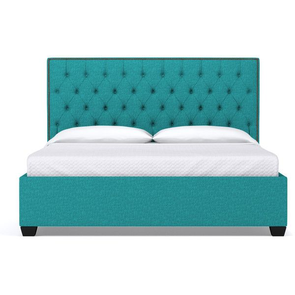 Apt2B Huntley Drive Upholstered Bed Ocean Blue (10,870 EGP) ❤ liked on Polyvore featuring home, furniture, beds, colored furniture, upholstered nailhead bed, ca king bed, california king upholstered bed and upholstery furniture