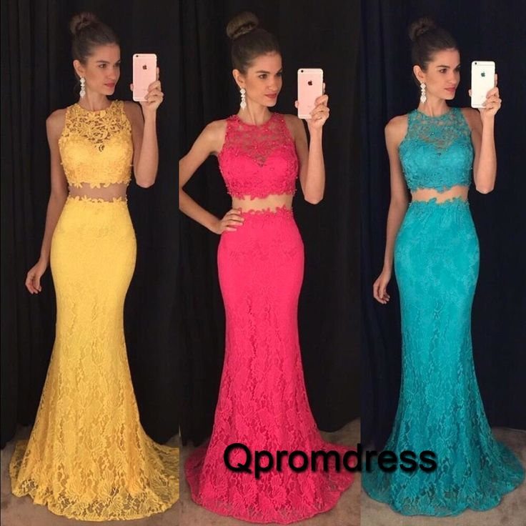2016 beautiful two pieces lace prom dress, formal dress, prom dresses for teens #coniefox #2016prom