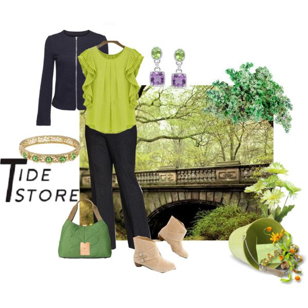 A pop of green by maria-kuroshchepova on Polyvore featuring JM Collection, Orla Kiely, 1928, Miadora and Gerber
