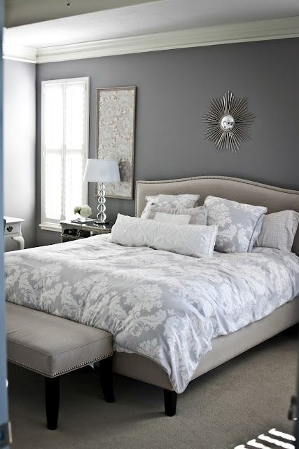 Gray/neutral bedroom- this kind of looks like my room. :)