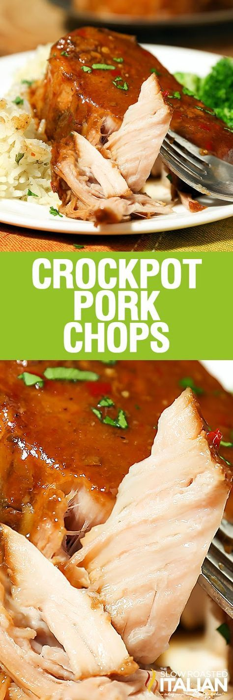 Crockpot Pork Chops are the easiest slow cooker recipe ever. Toss and go. Toss it all in the crockpot and you return to perfectly tender, melt in your mouth pork cooked in the most spectacular sauce.  It is a little sweet, a little spicy, a little barbequey (yes I made that word up) and a lot delicious. Prepped in just 5 minutes.