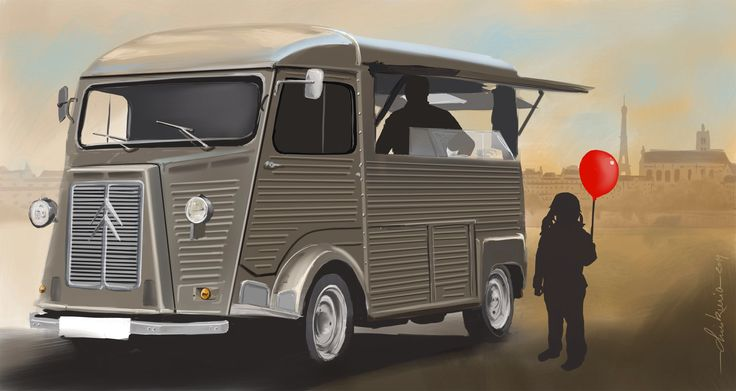 Citroën type H / by ChrisKwia / technical digital painting. www.digital-painting-fine-art.com