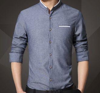 Men's mandarin collar shirt.