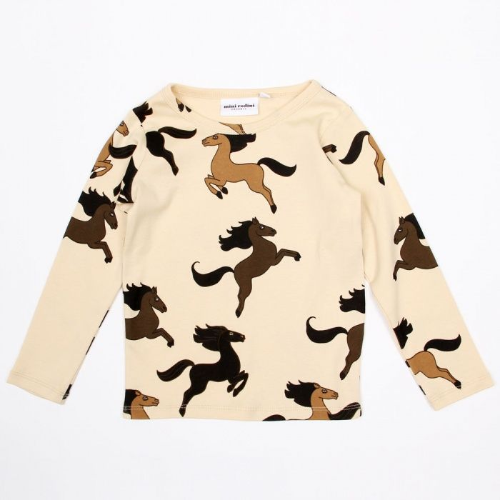 Mini Rodini horse print long sleeve tee. Available to buy at http://www.fromlolawithlove.com.au