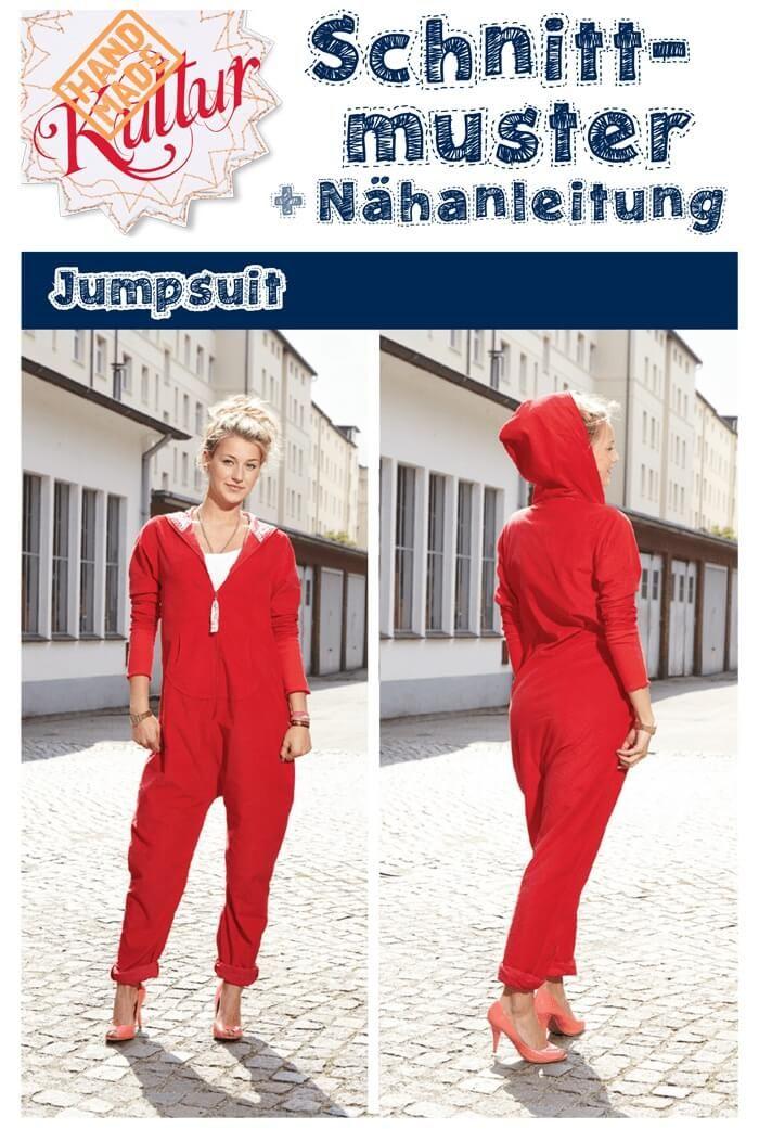 Kostenloses Schnittmuster Jumpsuit zum selber nähen ❤ Casual-Look: bequem und cool ❤ PDF-Schnittmuster Gr. 34 - 44 ❤ ✂ Jetzt Nähtalente.de besuchen ✂