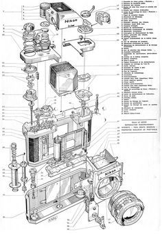 Exploded View of Old Nikon SLR Cameras