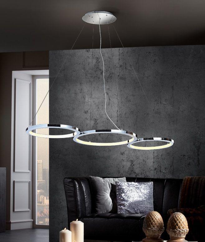LED Chrome Three Ring Suspension Light