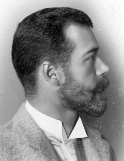 Profile of Tsar Nicholas II...as handsome as they come, and as dumb as a box of rocks...still, that beard...!