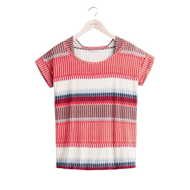 Sandwich Clothing Abstract Stripe Top Navy Red