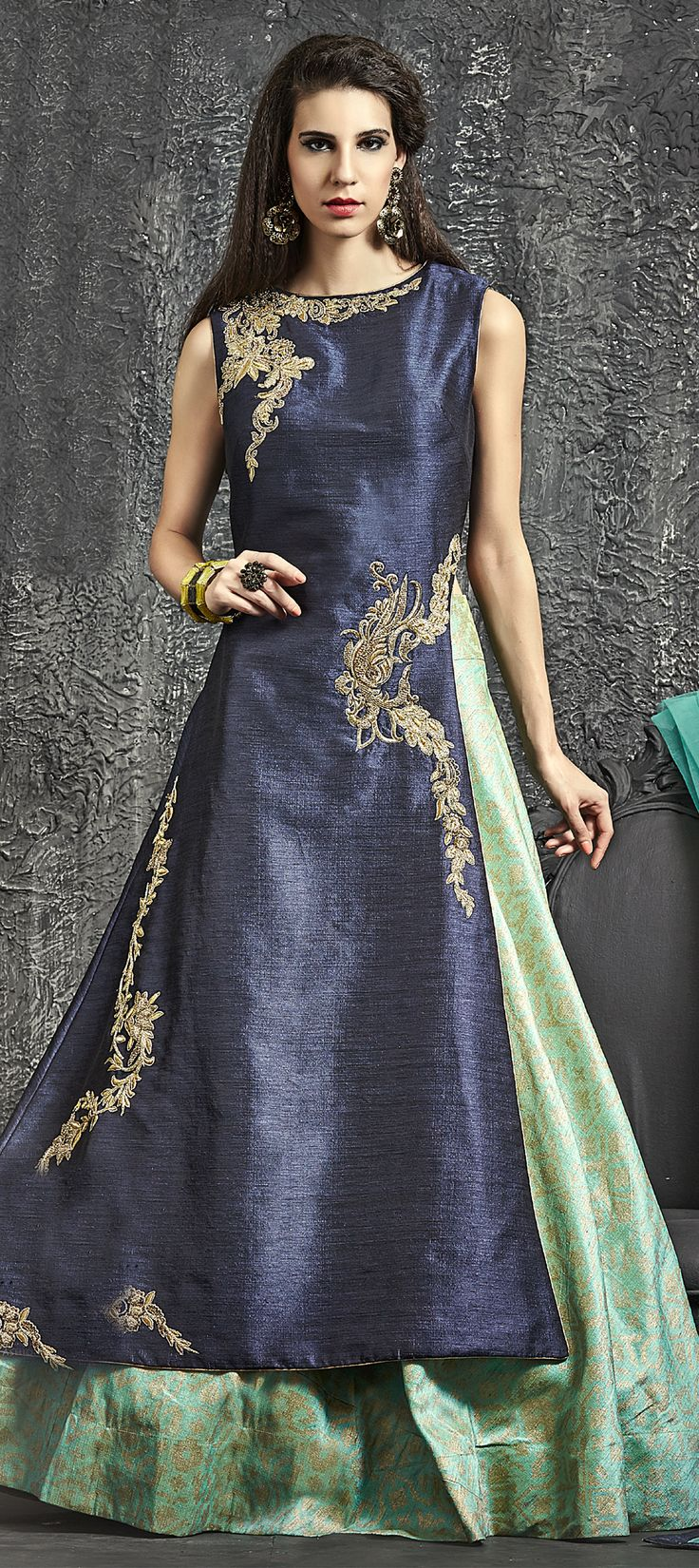 734549: Blue, Green  color family  stitched Long Lehenga Choli .