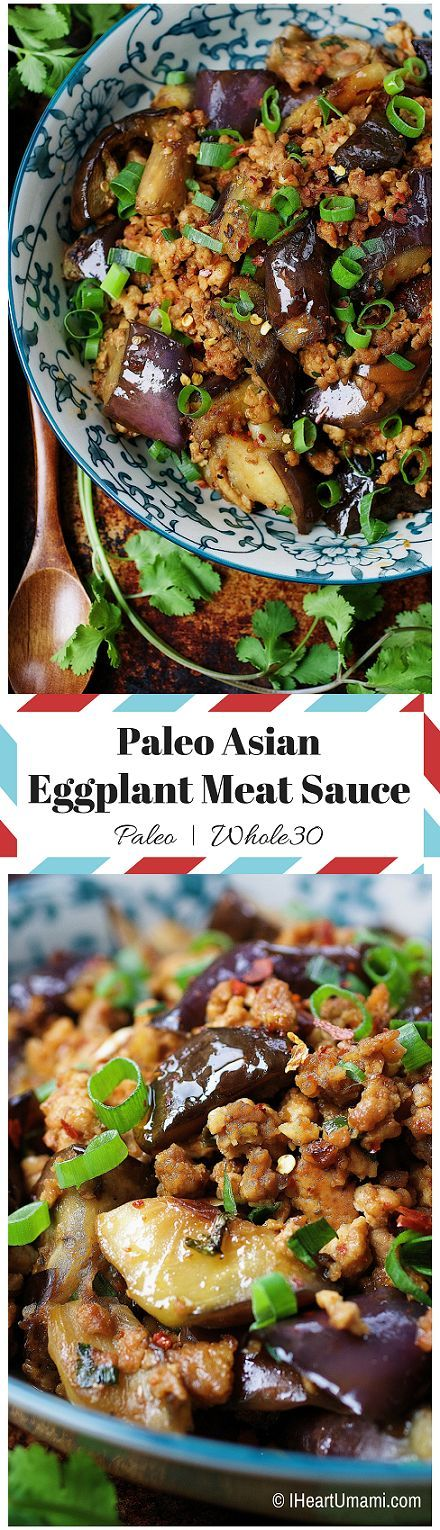 Paleo Chinese-inspired Eggplant Meat Sauce ! Make a big pot for the coming busy work week ! Whole30 friendly. IHeartUmami.com