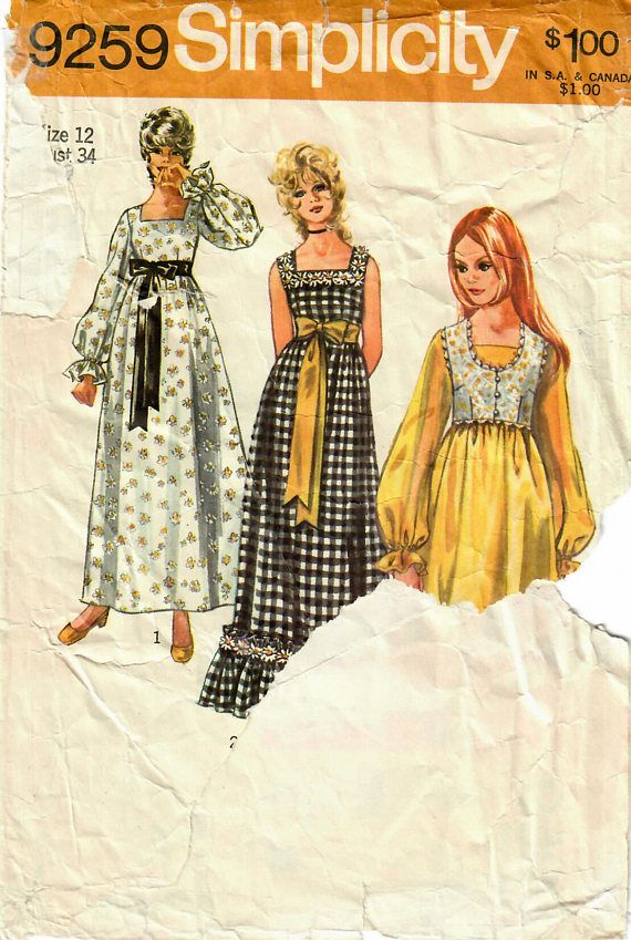 1970s Simplicity 9259 Vintage Sewing Pattern Misses Empire
