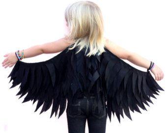 Raven Wings Costume   Black Raven Wings - Small - Costume Halloween Girls Boys Dressup Crow ...