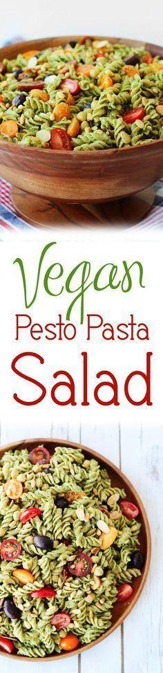 This vegan pesto gluten free pasta salad will be a hit at any Summer BBQ, cook-o…