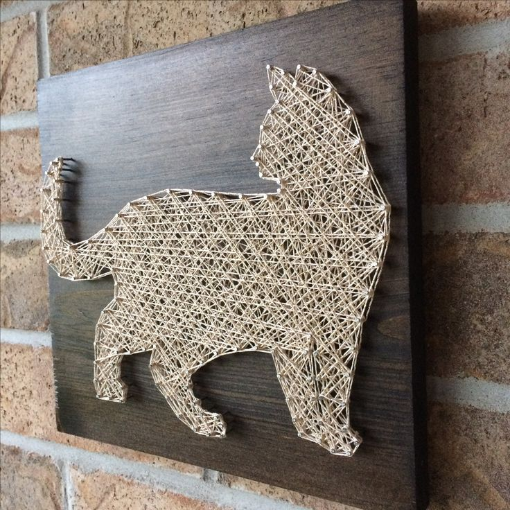 Rustic String Art - Standing Cat with gold sparkle string.  Available on my Etsy shop NailedITCA.