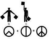 "How the 'Peace' sign came to be. Origanaly it was the CND (Campain for Nuclear Disarmament) sign ....  The symbol is a combination of the semaphore signals for the letters ""N"" and ""D,"" standing for ""nuclear disarmament"".  In semaphore the letter ""N"" is formed by a person holding two flags in an upside-down ""V,"" and the letter ""D"" is formed by holding one flag pointed straight up and the other pointed straight down. Superimposing these two signs forms the shape of the centre of the peace…"