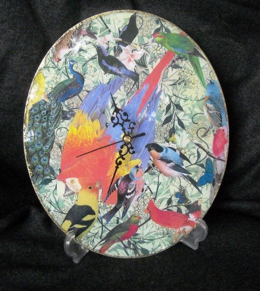 Glass clock decorated with decoupage by ArtCollagebyFiona on Etsy, $50.00