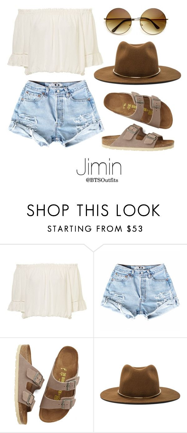 """""""Coachella Date with Jimin"""" by btsoutfits ❤ liked on Polyvore featuring Birkenstock and Janessa Leone"""