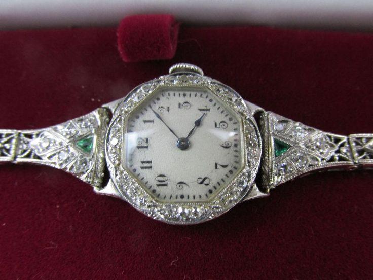 Vintage Art Deco 14k Solid Gold Platinum Diamond And Emerald Ladies Watch 1920s #waltham #ArtDeco1920s